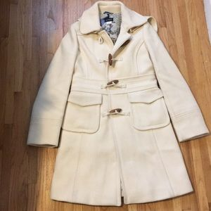 J. Crew Stadium Cloth Cream Wool Toggle Coat